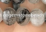 CME207 15.5 inches 7*9mm - 8*10mm pumpkin black rutilated quartz beads