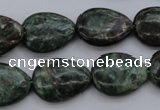 CME32 15.5 inches 15*20mm flat teardrop emerald gemstone beads