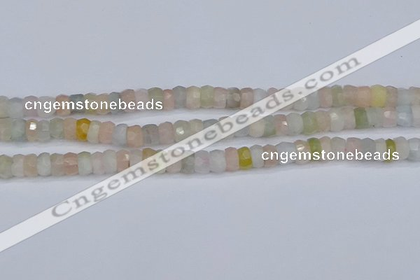 CMG216 15.5 inches 4*7mm faceted rondelle morganite beads