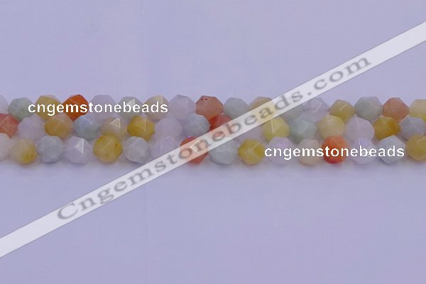 CMQ413 15.5 inches 10mm faceted nuggets mixed jade beads