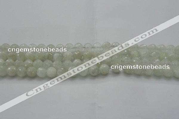 CMS1042 15.5 inches 8mm faceted round A grade white moonstone beads