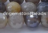 CMS1315 15.5 inches 14mm faceted round AB-color grey moonstone beads