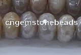 CMS1336 15.5 inches 8*16mm faceted rondelle AB-color grey moonstone beads