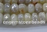 CMS1342 15.5 inches 5*8mm faceted rondelle AB-color white moonstone beads