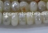 CMS1343 15.5 inches 6*10mm faceted rondelle AB-color white moonstone beads
