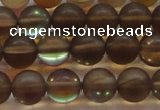 CMS1529 15.5 inches 12mm round matte synthetic moonstone beads
