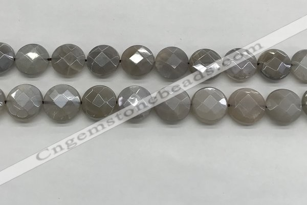 CMS1820 15.5 inches 16mm faceted coin AB-color moonstone beads