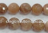 CMS62 15.5 inches 14mm faceted round moonstone gemstone beads
