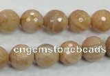 CMS85 15.5 inches 12mm faceted round moonstone gemstone beads