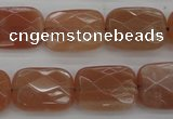 CMS971 15.5 inches 10*14mm faceted rectangle A grade moonstone beads