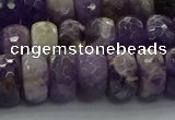 CNA1031 15.5 inches 7*12mm faceted rondelle dogtooth amethyst beads
