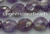 CNA1046 15.5 inches 14mm faceted coin dogtooth amethyst beads