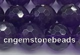 CNA1177 15.5 inches 10mm faceted round natural amethyst beads
