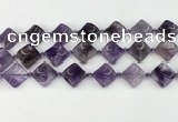 CNA1188 15.5 inches 15*15mm twisted diamond amethyst beads