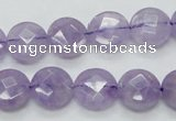 CNA322 15.5 inches 12mm faceted coin natural lavender amethyst beads