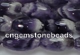 CNA53 15.5 inches 12*22mm faceted rice grade AB natural amethyst beads