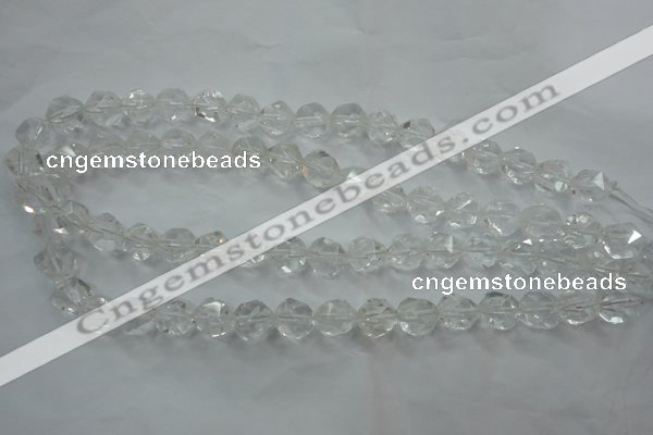 CNC101 15 inches 8mm faceted nuggets white crystal beads