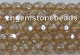 CNC517 15.5 inches 6mm faceted round dyed natural white crystal beads