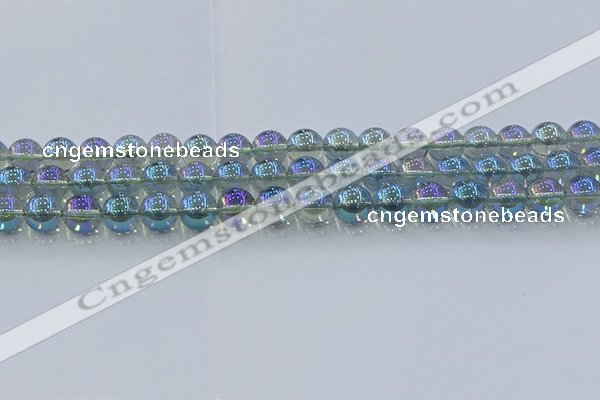 CNC584 15.5 inches 10mm round plated natural white crystal beads