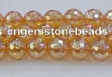 CNC614 15.5 inches 6mm faceted round plated natural white crystal beads