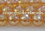 CNC617 15.5 inches 12mm faceted round plated natural white crystal beads