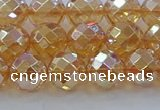 CNC621 15.5 inches 8mm faceted round plated natural white crystal beads