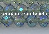 CNC629 15.5 inches 10mm faceted round plated natural white crystal beads