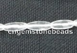 CNC65 6*16mm faceted rice grade A natural white crystal beads