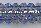 CNC663 15.5 inches 6mm faceted round plated natural white crystal beads