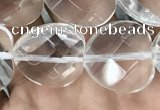 CNC738 15.5 inches 14*14mm faceted heart white crystal beads