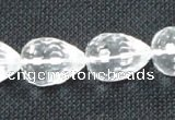 CNC75 10*14mm faceted teardrop grade A natural white crystal beads