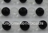 CNC87 15.5 inches 10mm carved round matte white crystal & black agate beads