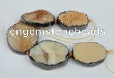 CNG1494 8 inches 30*35mm - 35*45mm freeform agate beads with brass setting