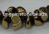 CNG1549 15.5 inches 6*8mm - 18*25mm nuggets plated agate beads