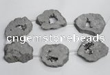 CNG1568 30*40mm - 40*50mm freeform plated druzy agate beads
