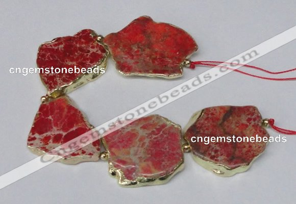 CNG2115 8 inches 25*35mm - 30*40mm freeform sea sediment jasper beads