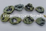 CNG2500 15.5 inches 30*40mm - 40*50mm freeform plated druzy agate beads