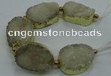 CNG2558 7.5 inches 25*35mm - 30*40mm freeform druzy agate beads