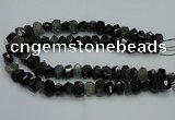 CNG2718 10*14mm - 13*18mm faceted nuggets black rabbit hair beads