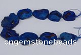 CNG3093 15.5 inches 25*30mm - 35*50mm freeform plated druzy agate beads