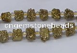 CNG3325 15.5 inches 4*6mm - 8*10mm nuggets plated druzy agate beads
