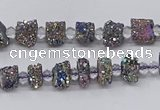 CNG3327 15.5 inches 4*6mm - 8*10mm nuggets plated druzy agate beads