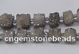 CNG3335 15.5 inches 6*8mm - 10*14mm nuggets plated druzy agate beads