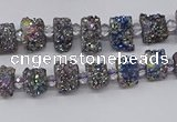 CNG3339 15.5 inches 6*8mm - 10*14mm nuggets plated druzy agate beads