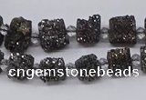 CNG3342 15.5 inches 6*8mm - 10*14mm nuggets plated druzy agate beads