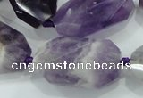 CNG482 15.5 inches 20*30mm twisted & faceted nuggets amethyst beads