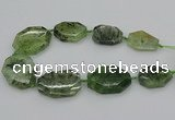 CNG5359 20*30mm - 35*45mm faceted freeform green rutilated quartz beads