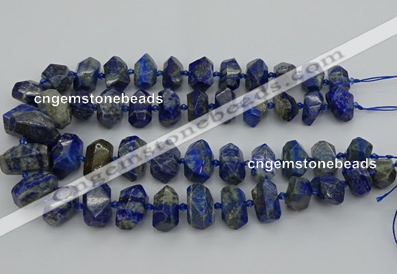 CNG5425 12*16mm - 15*20mm faceted nuggets lapis lazuli beads