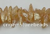 CNG5464 15.5 inches 6*10mm - 8*20mm nuggets plated quartz beads