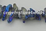 CNG5466 15.5 inches 6*10mm - 8*20mm nuggets plated quartz beads